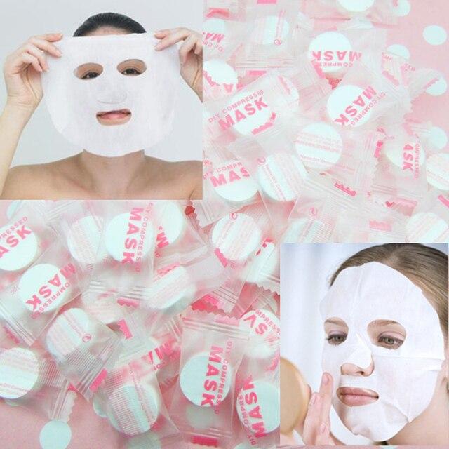 Hot 100 pz/borsa Fibra Vegetale Cura Della Pelle DIY Facciale Maschera di Carta Compressa Tablet Masque Trattamento Viso Maschera Fai Da Te