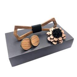Деревянный галстук-бабочка набор мужской деревянный брошь и деревянные Запонки аксессуары мультфильм бабочка деревянный галстук-бабочка