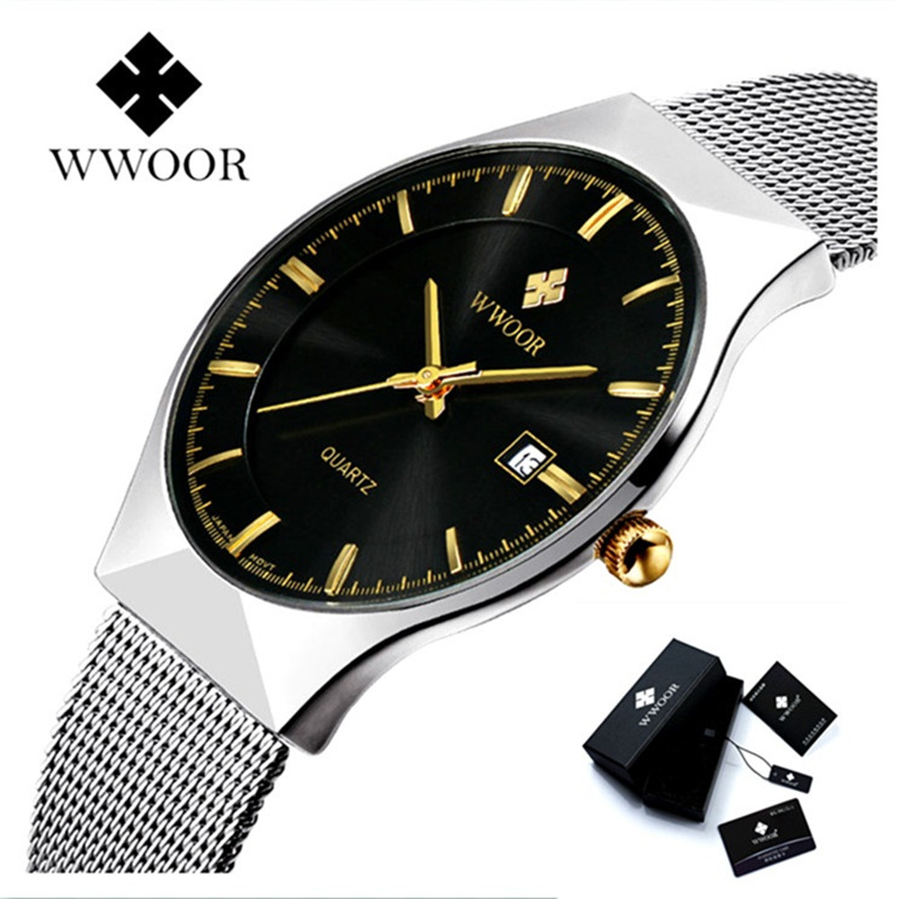 Brand Luxury Date Men's Quartz Watch Men Sports Waterproof Watches Male Silver Steel Strap Wrist Watch WWOOR Ultra Thin Clock men watches top brand wwoor date clock male waterproof quartz watch men silver steel mesh strap luxury casual sports wrist watch