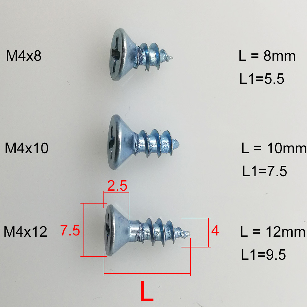 5pcs High quality cross head blue zinc plated steel self tapping wooden M4x8 8mm M4x10 10mm M4x12 12mm screws