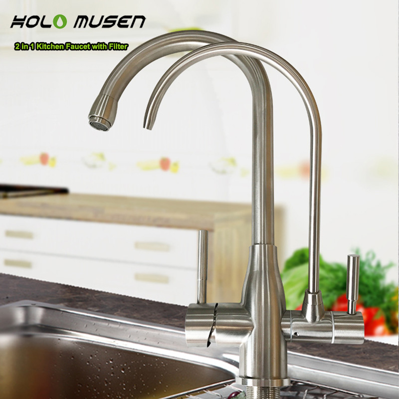 US $98.5 50% OFF|Health Lead Free Stainless Steel Kitchen Filter Tap  Delivers Hot/Cold water Filter Water Brushed 2 in 1 Filter Kitchen  Faucet-in ...