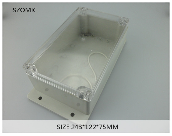 1 piece ip65 electronic wall mounting conjunction enclosure/box with transparent lid   243x122x75mm