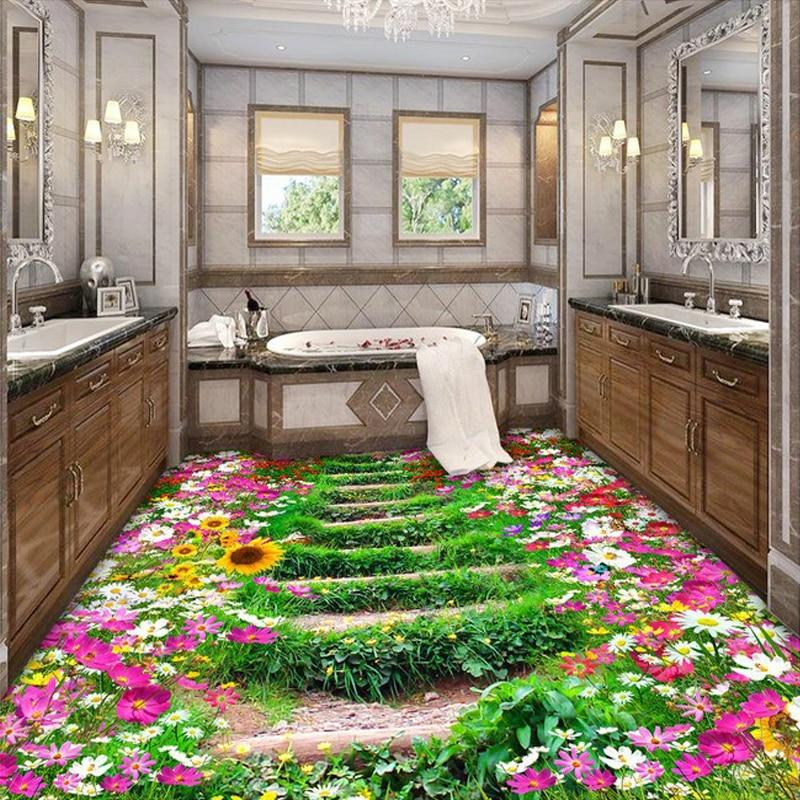 Online Shop Custom 3D Floor Wallpaper Flowers Road Bathroom Kitchen Bedroom  Floor Mural Sticker Waterproof Self Adhesive PVC Photo Wallpaper |  Aliexpress ...