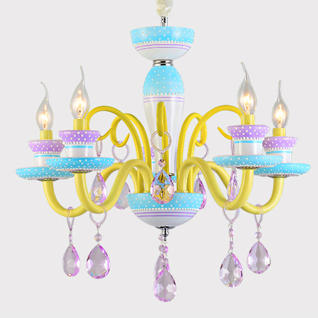Neue Moderne Kristall 5 Kerzen Pendelleuchte E14 Kreative Hangende Lampe Kinder Schlafzimmer Madchen Schlafzimmer Leuchte Beleuchtung Pl612 In Neue