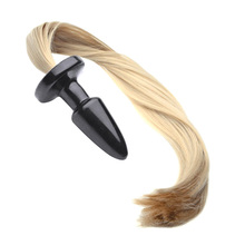 Unisex Butt Plug Blondie Pony Tail, Fetish Animal Role Play Horse Anal Plug Tail, 50cm Long Silky Tail, Sex Toys, Sex Products