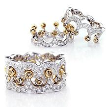 New Arrival Roma Retro Luxury Jewelry 925 Sterling Silver Filled CZ Crystal Zirconia Women Wedding  Crown Ring Set Gift Size 6-9