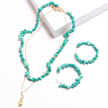 Ztech Trendy Jewelry Women Necklaces & Earrings Blue Stone ZA 2019 Fashion Statement Link Chain Chokers Accessory Sets
