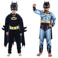 Bambini Ragazzi Muscle Costumi di Batman con Maschera Mantello Personaggio Del Film Superhero Cosplay di Halloween di Travestimento da Sera Superman Ruolo Pl