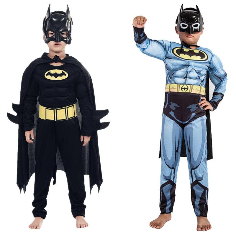 Crianças Meninos Muscle Batman Trajes Com Manto Máscara Personagem do Filme Superman Superhero Cosplay Halloween Masquerade Noite Papel Pl