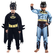 Kids Boys Muscle Batman Costumes With Mask Cloak Movie Character Superhero Cosplay Halloween Masquerade Evening Superman Role Pl(China)