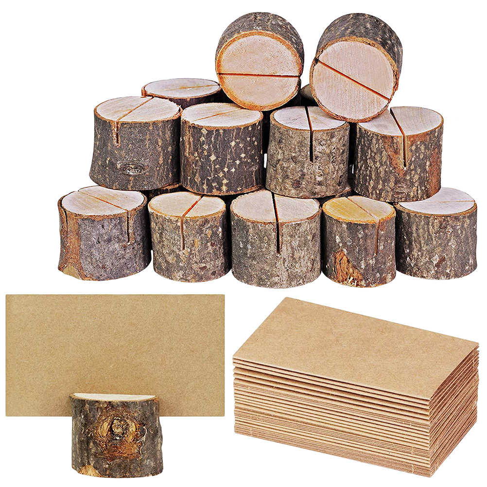 40pcs Wood Pile Name Place Card Photo Holders Wooden Bark Memo Holder Stump Shape Menu Number Memo Stand Wedding Party Decor