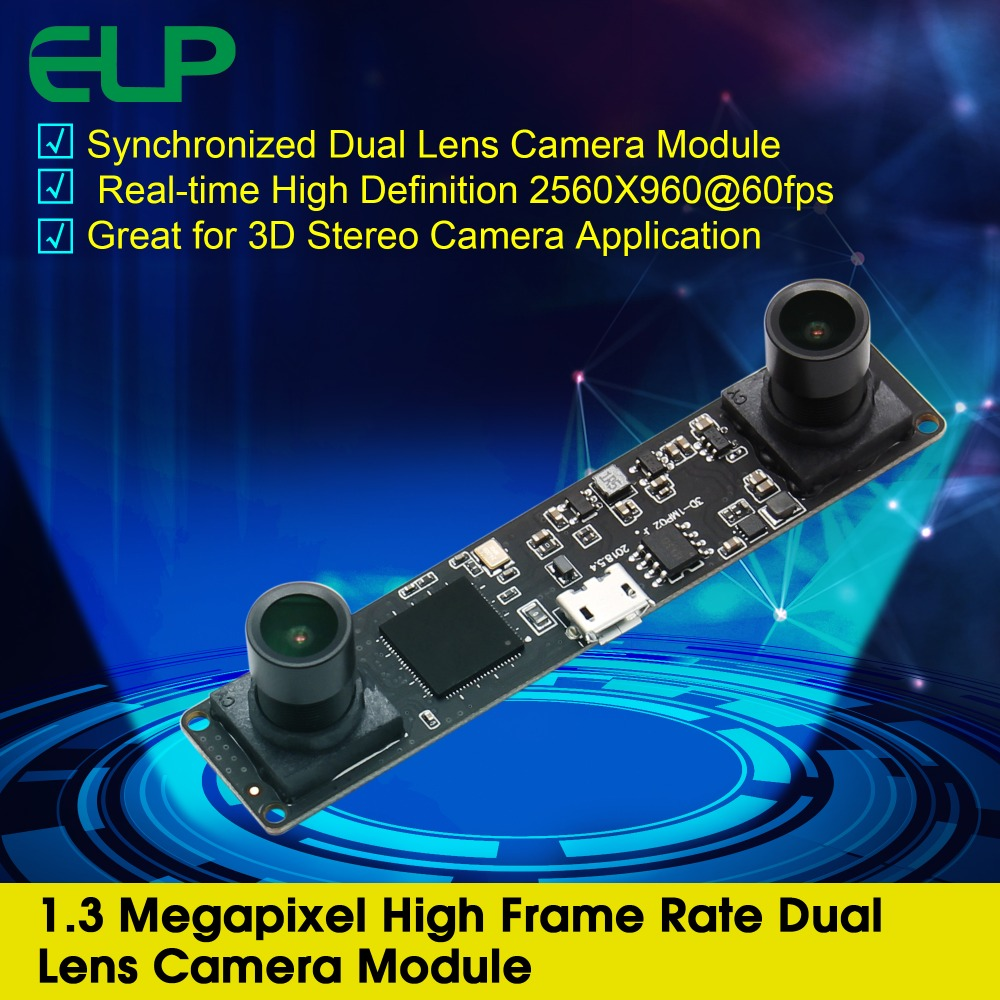 Synchronization 960P Dual lens usb camera module MJPEG 60fps 2560X960 OV9750 CMOS stereo Video usb camera