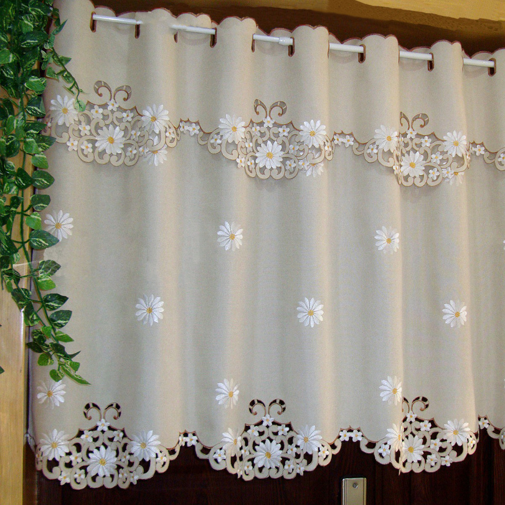 Door half window curtains - British Half Curtain Embroidered Window Valance Customize Light Shading Curtain For Kitchen Cabinet Door Decor