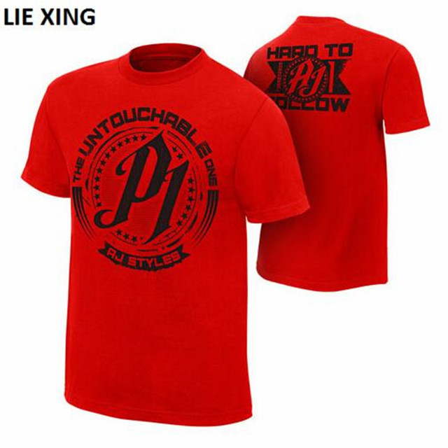"2018 New T-shirt Men Wrestling AJ Styles ""Untouchable"" Red Tshirt 21 Patterns Print Cotton Tee Shirt Homme"