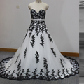 White and Black Wedding Dresses 2016 Real Photo Gothic Ball Gown Sweetheart Lace Up Back vestido de casamento longo