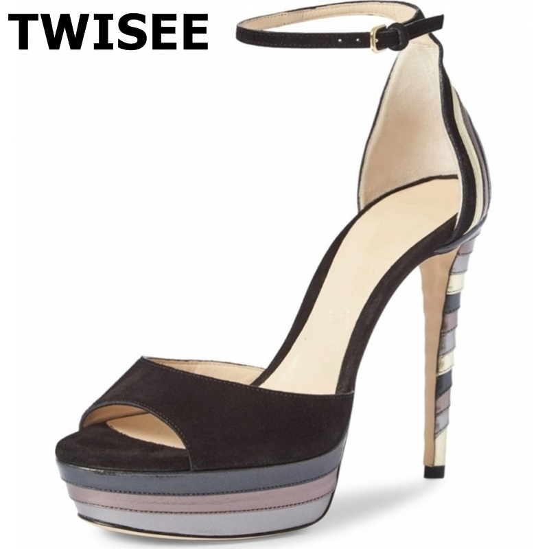 platform shoes chaussure femme Sandals hot selling sapatos femininos round toe thin high heels 12 cm mixed colors concise