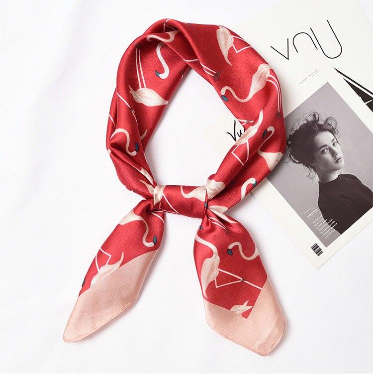 Yishine 70x70 CM Women Multifunction Polyester Silk Scarf Leopard Prints Summer Satin Long Wraps Flamingo Scarves Shawl