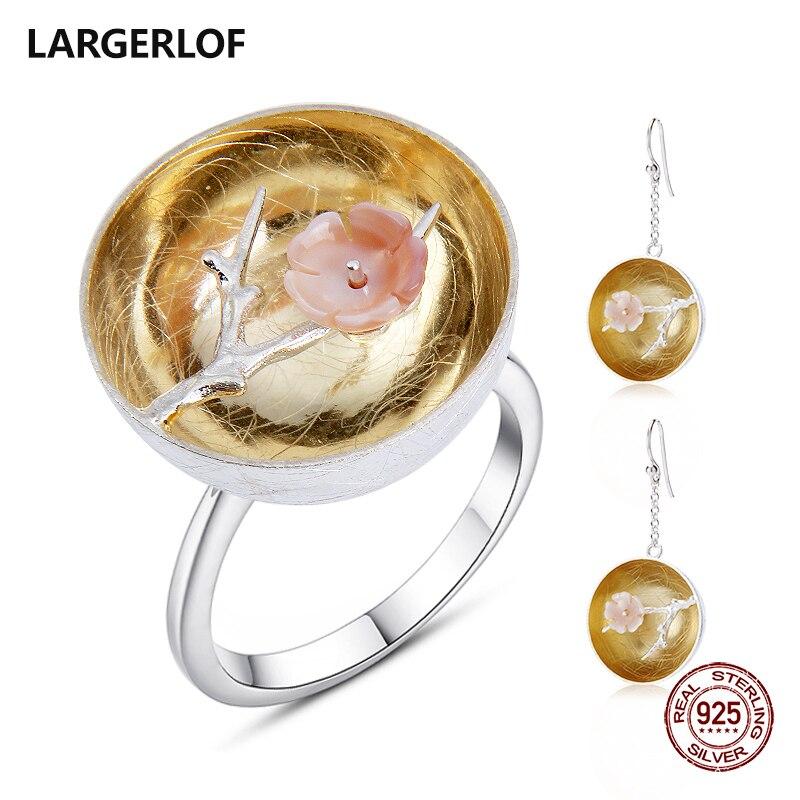 LARGERLOF femmes ensembles de bijoux 925 en argent Sterling à la main bijoux fins ensemble en argent bijoux JS50019