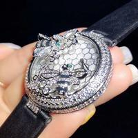 Luxury Top brand Handmade Leather strap zircon Stone double bee green eyes woman wristwatch round dial Lady quartz watch
