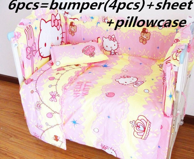 Promotion! 6/7PCS Hello Kitty Baby Bedding Set,Cotton Bed Linen,Baby Pillow Cot Bumpers ,120*60/120*70cm