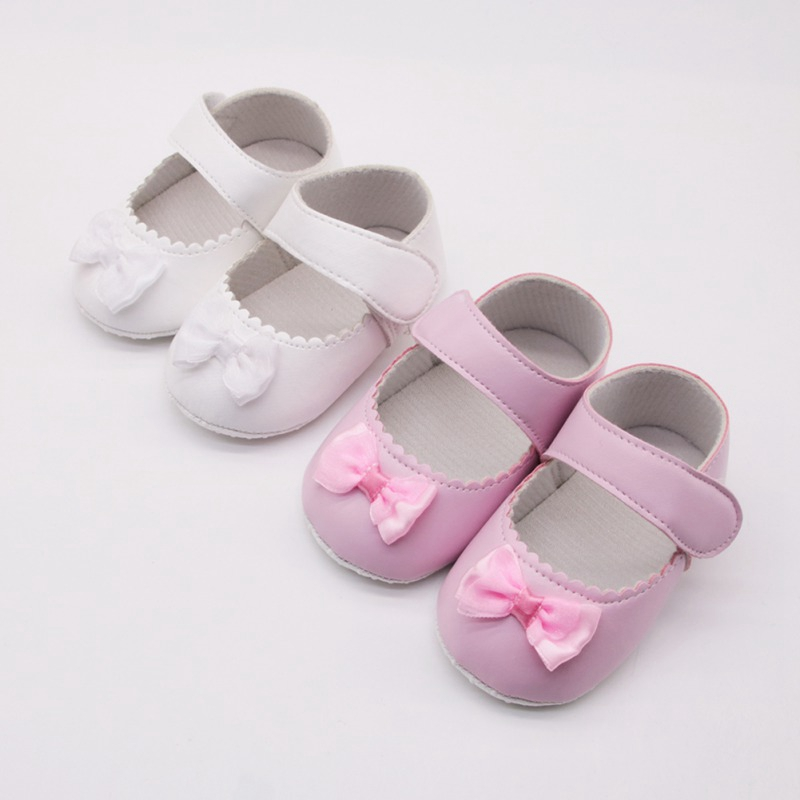 Baby Girls Shoes 0-18 Month Toddler Infant First Walkers Spring Soft Sole Non-Slip PU Princess Casual Shoes With Bowknot
