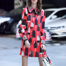 Delocah 2018 Autumn Women Dress Runway Fashion Designer Long Sleeve Gorgeous  Crystal Beading Ice Cream Printed d60ad8e6dbe7