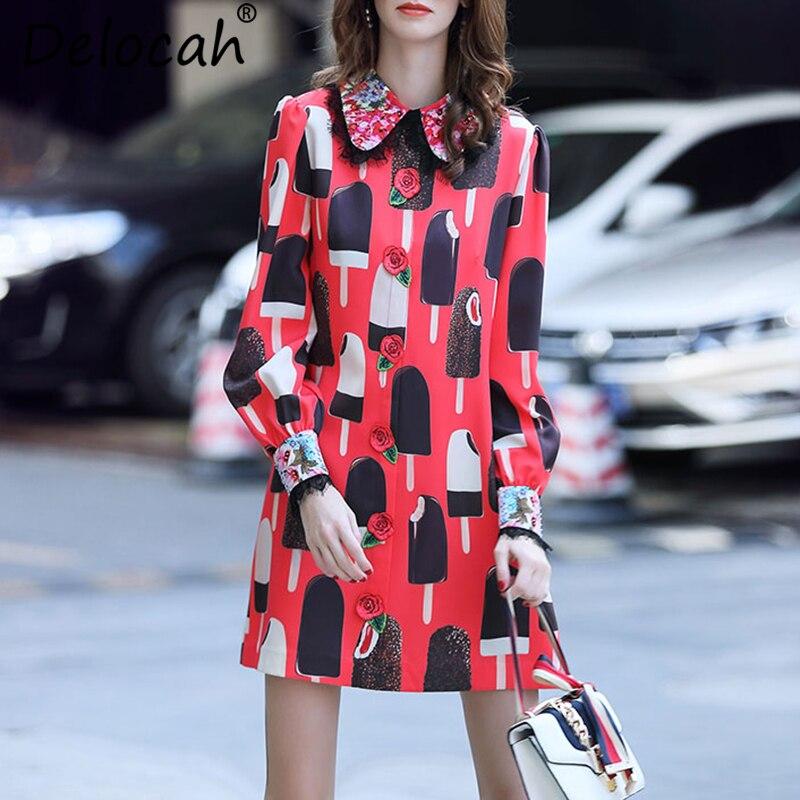 Kadın Giyim'ten Elbiseler'de Delocah Sonbahar Kadın Elbise Pist Moda Tasarımcısı Uzun Kollu Muhteşem Kristal Boncuk Dondurma Baskılı Mini Ince Elbiseler'da  Grup 1
