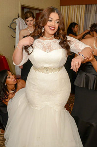 Image 2 - Plus Size Mermaid Wedding Dresses With Sashes Beaded Sheer Scoop Neck half sleeve Appliqued Backless Bridal Gowns Custom Made
