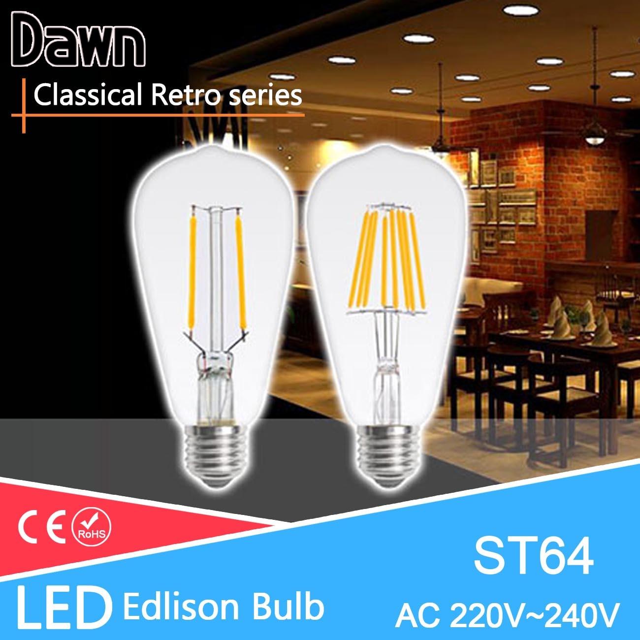 Vintage edison bulb old fashioned lamp classic a60 led 2w or 4w - Classical Vintage Glass Led Edison Bulb Lamp St64 T45 E27 220v Retro Tungsten Filament Bulbs Pendant Filament Lampards 8w 12w