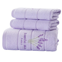 3 Pcs Set High Quality 100 Cotton Absorbent Face Towel Antibacterial Soft Embroidered Lavender Aromatherapy Towel
