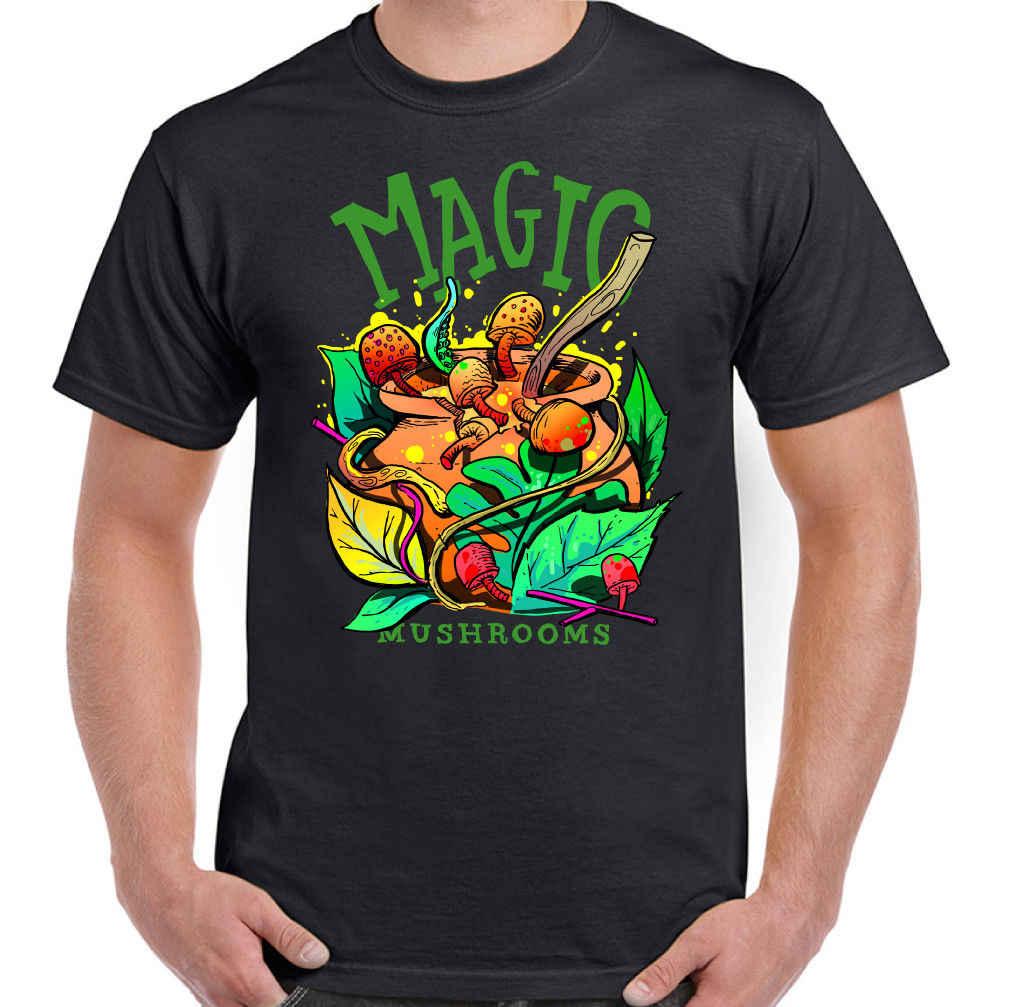 Cogumelos mágicos Homens Engraçados T-Shirt Psicodélico LSD Leeds Festival de Glastonbury