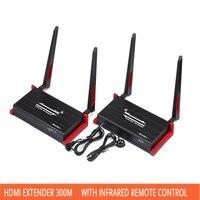 HDMI удлинитель 300 м Беспроводной передачи аудио видео синхронизации усилитель передачи кабель передачи RJ45 с инфракрасный пульт дистанционн