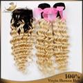 7А Лучшие продажи Бразильского Виргинские Человеческих Волос блондинка реми наращивание волос С Закрытием Bleachable Ombre Бразильский Глубокая Волна Волос