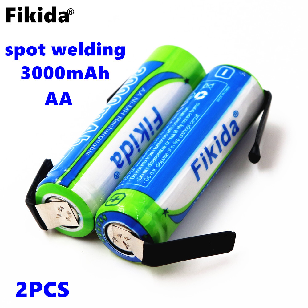 2PCS Fikida 1.2V AA rechargeable battery 3000mah ni-mh cell pack with tabs pins for Philips Braun electric shaver toothbrush цена 2017