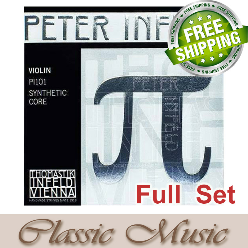 Thomastik Peter Infeld Violin Strings  Full Set (PI101)  . For 4/4 Violin  Medium Gauge,Made in Austria. free shipping, free shipping evah pirazzi violin strings full set ball end made in germany for 4 4