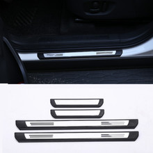 Stainless Outside Door Sill Scuff Threshold Protector Plate Cover Trim For Land Rover Discovery 2015-2017 Car Accessories 4Pcs aluminum alloy exterior door sill scuff threshold protector plate cover trim for land rover discovery 5 lr5 2017 car styling