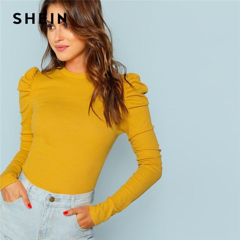 SHEIN moutarde élégant minimaliste manches bouffantes côtes tricot solide pulls Slim Fit Tee 2018 automne bureau dame femmes T-shirt haut