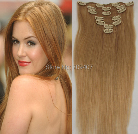 Best Selling Virgin Remy Hair Clip Hair Extension 27 Strawberry