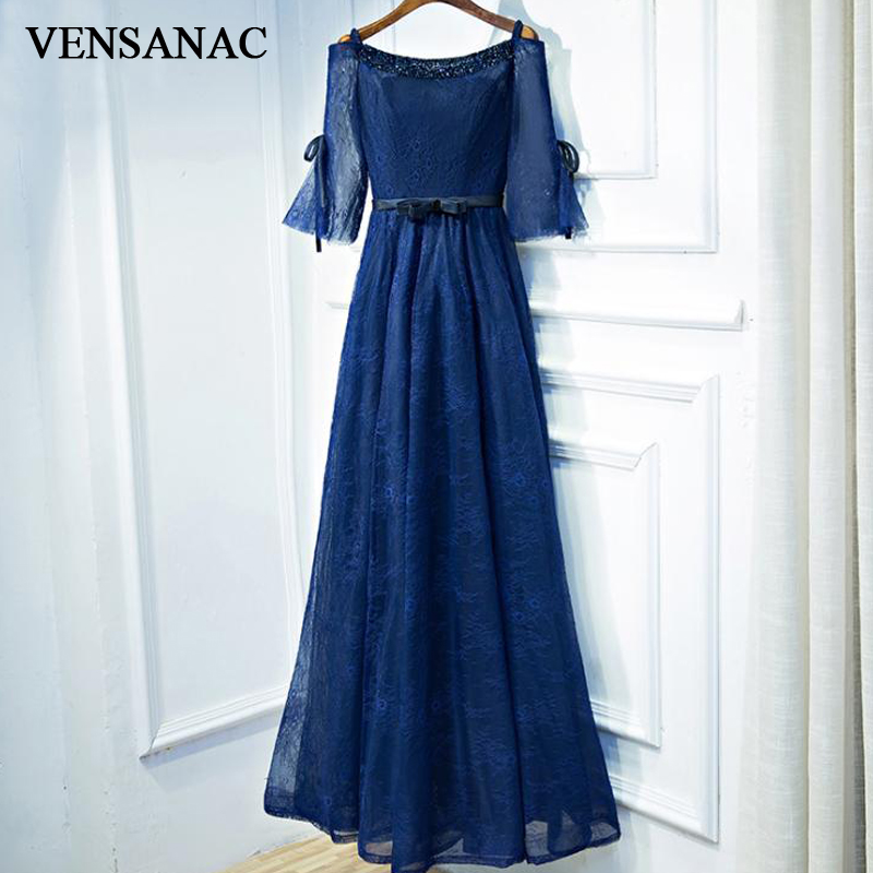VENSANAC 2018 Elegant A Line Lace Embroidery Long Evening Dresses Party O Neck Crystal Bow Sash Half Sleeve Prom Gowns