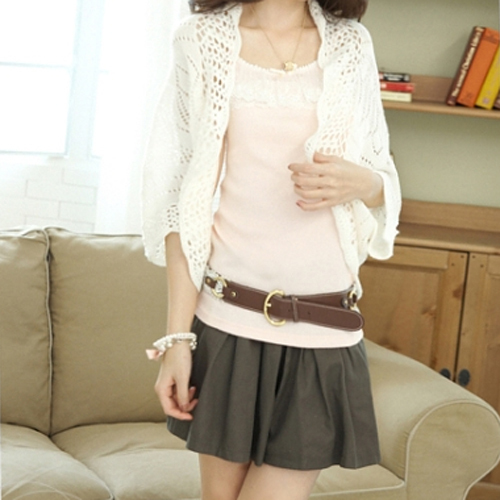 Puff Sleeve Cardigan Knitted Tops Sweater Outwear Smock Casual Air-conditioned Shirt Hot