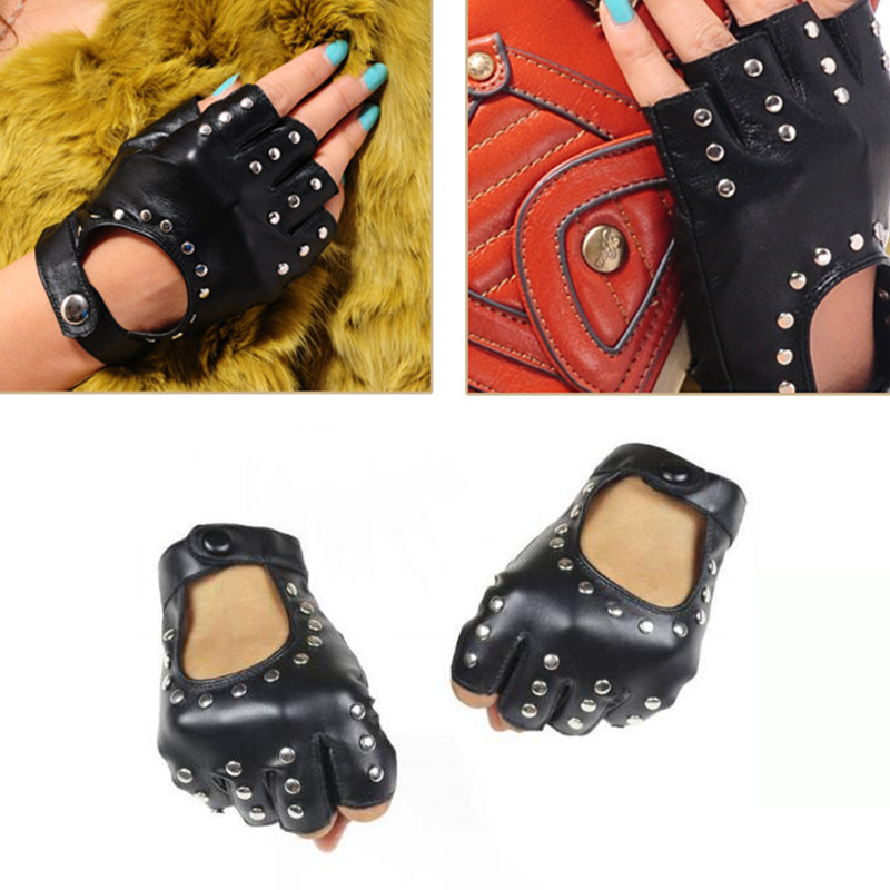 Long Keeper Women Rivets PU Leather Gloves Semi-Finger Mens Rivet Belt PU Gloves Sexy Cutout Fingerless Gloves Female Luva G221