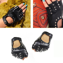 YBZ Women Rivets PU Leather Gloves Semi-Finger Mens Rivet Belt Sexy Cutout Fingerless G221