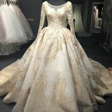 EBDOING Ball Gown Wedding Dress Full Sleeve Chapel Train