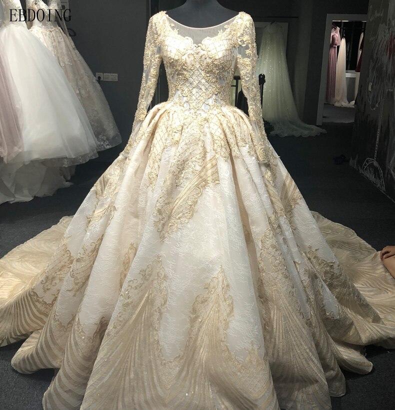 Vestidos De Novia Ball Gown Wedding Dress Scoop Neckline Full Sleeve Chapel  Train Lace UP Bride 3716f7f428ec