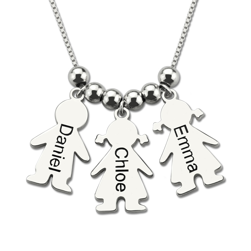Wholesale Sterling Silver Necklace Personalized Engraved Name Necklace Kids Charms Necklace for Mother layered alloy engraved coins moon necklace