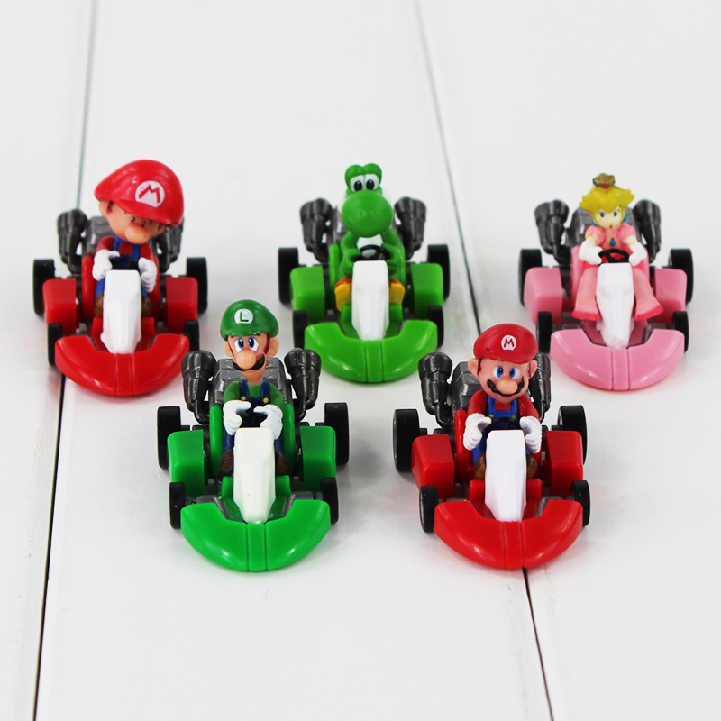 5pcs/set Super Mario Bros Mario Pull Back Car Kart PVC Action Figure Toys Model Mini Brinquedos For Kids Collections 3cm