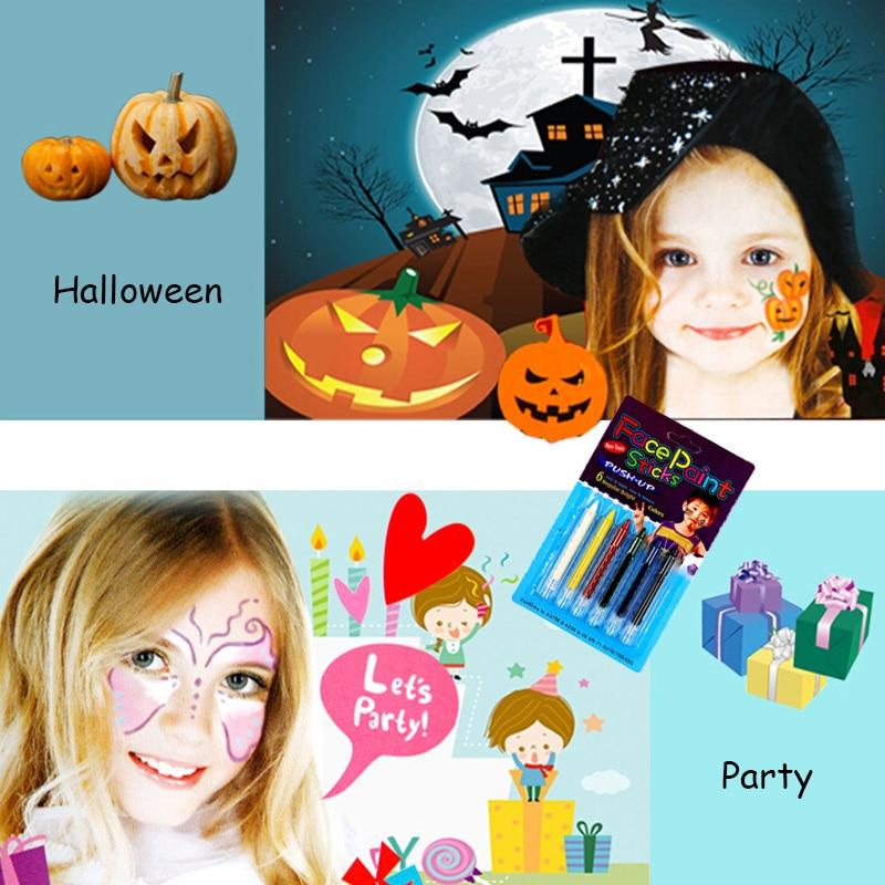 diy 6pcs lot non toxic face paint sticks kids makeup body paint pen