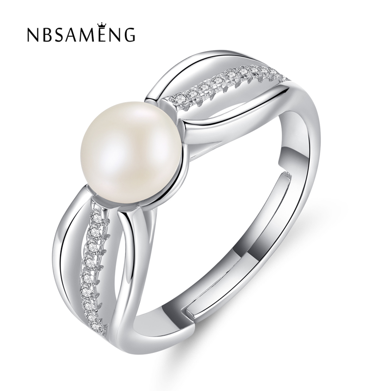 Authentic 100% S925 Sterling Silver Adjustable Nature Freashwater White Pearl Clear CZ Crystal Rings For Women Party Jewelry(China)