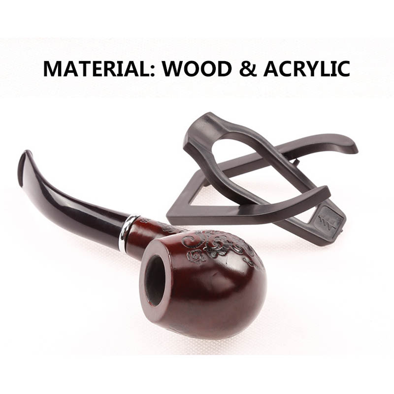 Classic Bent Wooden Smoking Pipe Beautiful Carve Patterns Tobacco Herb Pipes