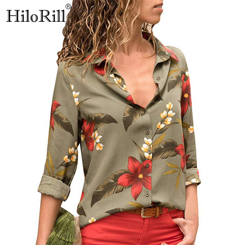 Women Blouses 2019 Floral Print Long Sleeve Turn Down Collar Blouse Leisure Shirt Striped Tunic Plus Size Blusas Chemisier Femme